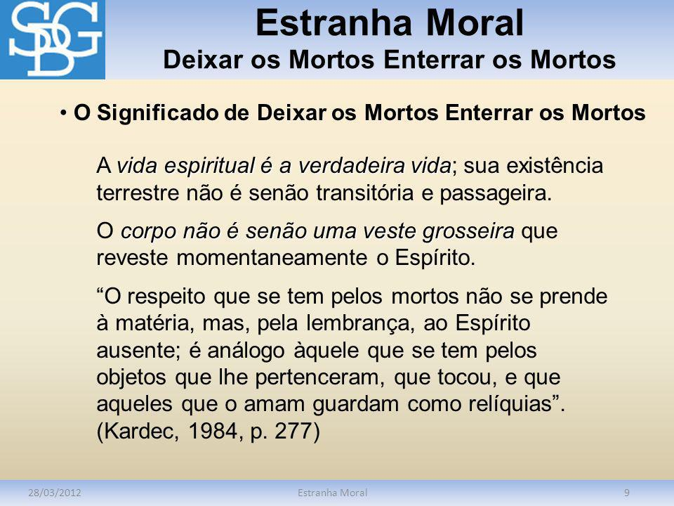 Estranha Moral Deixar os Mortos Enterrar os Mortos 28/03/2012Estranha Moral10 cadávermorto Para o Espírito Emmanuel, há grande diferença entre cadáver e morto.