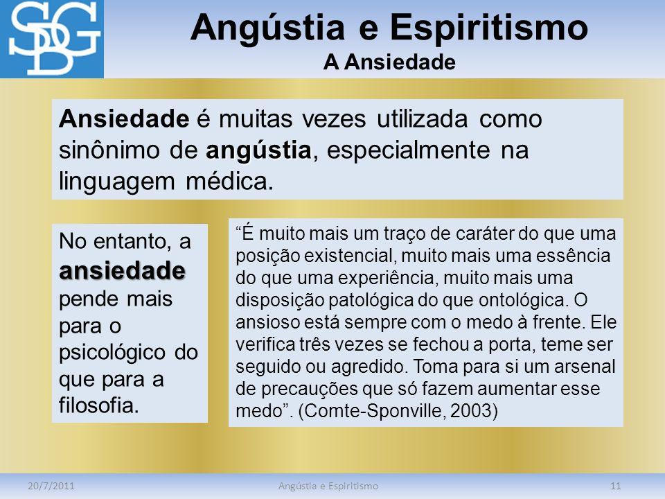 Angústia e Espiritismo A Ansiedade 20/7/2011Angústia e Espiritismo11 angústia Ansiedade é muitas vezes utilizada como sinônimo de angústia, especialme