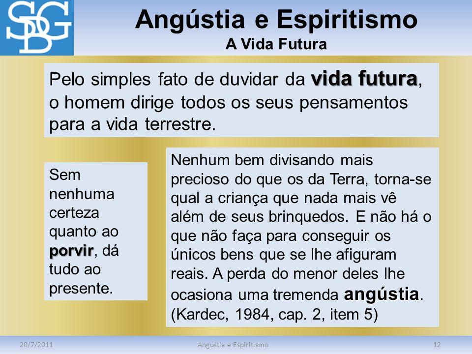 Angústia e Espiritismo A Vida Futura 20/7/2011Angústia e Espiritismo12 vida futura Pelo simples fato de duvidar da vida futura, o homem dirige todos o