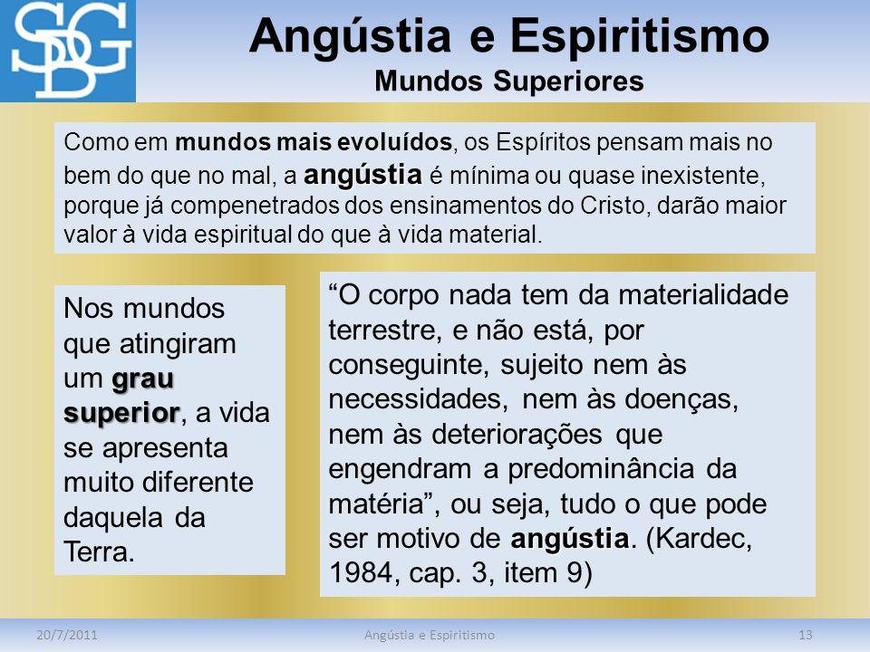 Angústia e Espiritismo Mundos Superiores 20/7/2011Angústia e Espiritismo13 angústia Como em mundos mais evoluídos, os Espíritos pensam mais no bem do