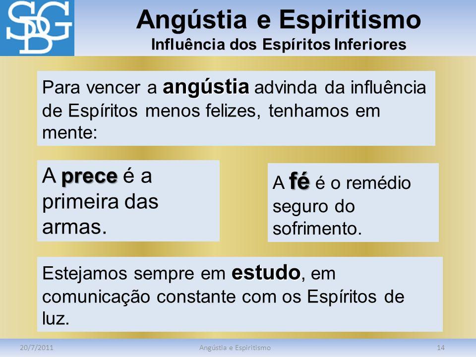 Angústia e Espiritismo Influência dos Espíritos Inferiores 20/7/2011Angústia e Espiritismo14 angústia Para vencer a angústia advinda da influência de