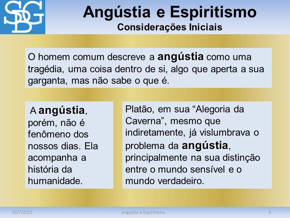 Angústia e Espiritismo Considerações Iniciais 20/7/2011Angústia e Espiritismo4 angústia O homem comum descreve a angústia como uma tragédia, uma coisa
