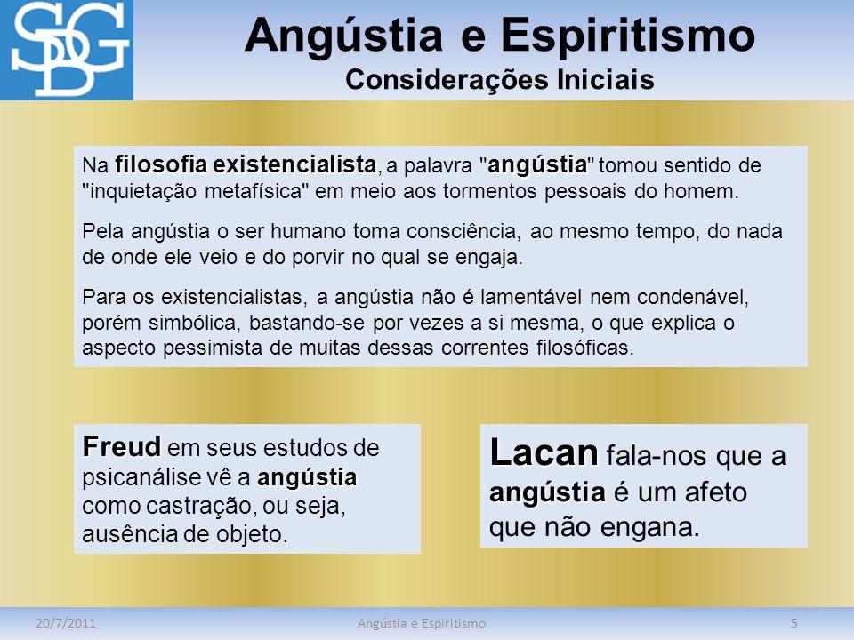 Angústia e Espiritismo Angústia segundo a Filosofia 20/7/2011Angústia e Espiritismo6 angústia Filosoficamente, a angústia é o sentimento do nada.