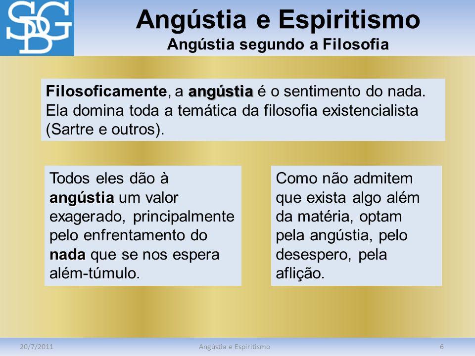 Angústia e Espiritismo Angústia segundo a Filosofia 20/7/2011Angústia e Espiritismo6 angústia Filosoficamente, a angústia é o sentimento do nada. Ela