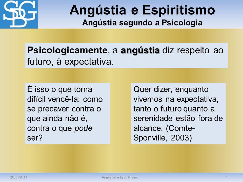 Angústia e Espiritismo Angústia segundo a Psicologia 20/7/2011Angústia e Espiritismo7 angústia Psicologicamente, a angústia diz respeito ao futuro, à