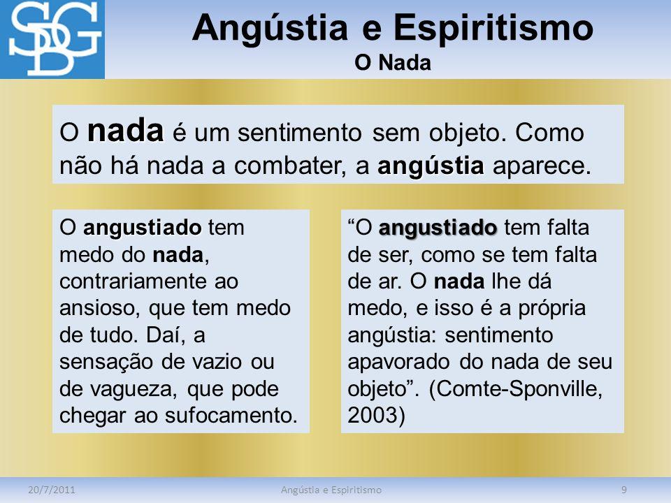 Angústia e Espiritismo O Nada 20/7/2011Angústia e Espiritismo9 nada angústia O nada é um sentimento sem objeto. Como não há nada a combater, a angústi