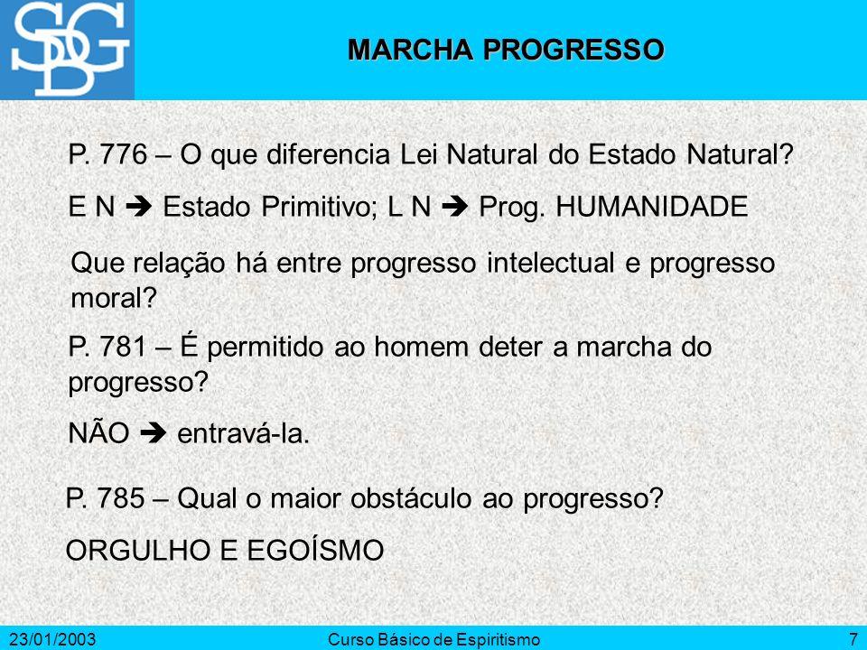 23/01/2003Curso Básico de Espiritismo8 P.789 – O progresso reunirá todos os povos em um só nação.