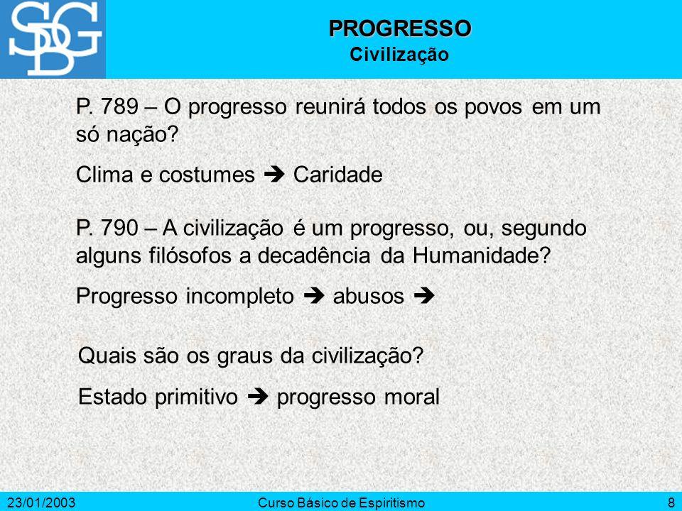 23/01/2003Curso Básico de Espiritismo8 P. 789 – O progresso reunirá todos os povos em um só nação.