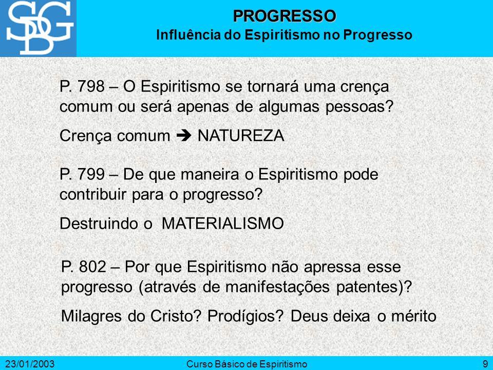 23/01/2003Curso Básico de Espiritismo10 Tenhamos em conta a irreversibilidade do tempo, pois os minutos desperdiçados não voltam mais.
