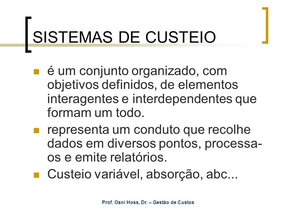 SISTEMAS DE CUSTEIO é um conjunto organizado, com objetivos definidos, de elementos interagentes e interdependentes que formam um todo. representa um