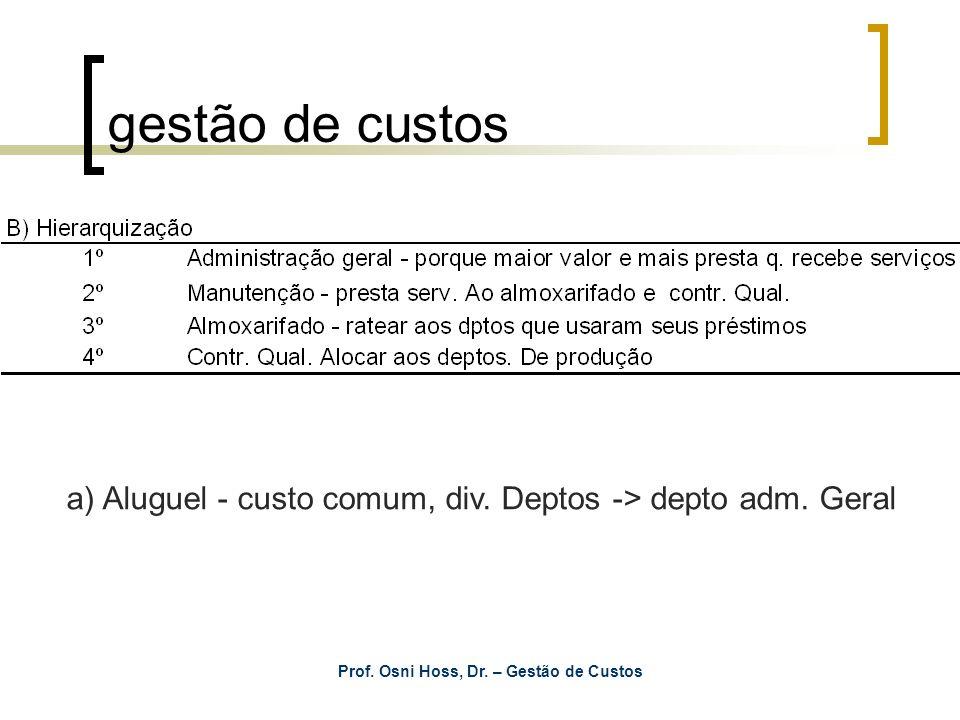 Prof. Osni Hoss, Dr. – Gestão de Custos gestão de custos a) Aluguel - custo comum, div. Deptos -> depto adm. Geral