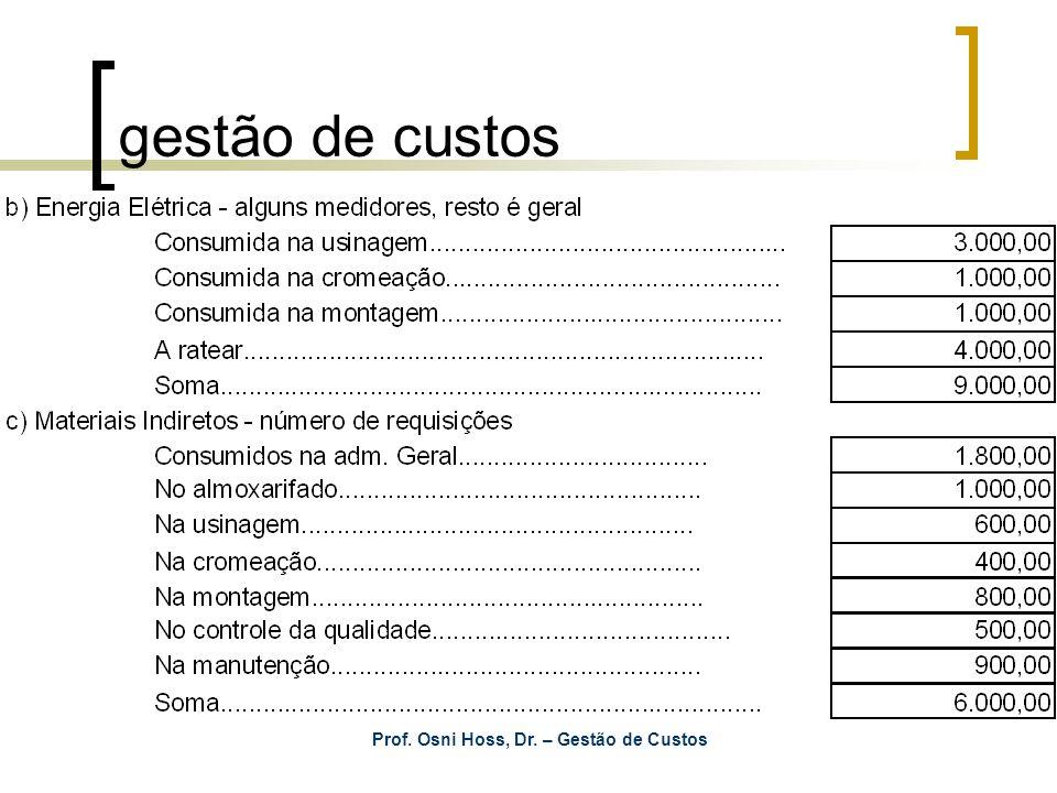 Prof. Osni Hoss, Dr. – Gestão de Custos gestão de custos