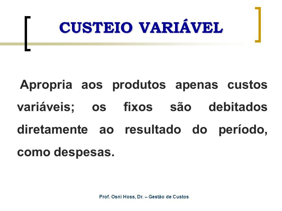 Prof. Osni Hoss, Dr. – Gestão de Custos CUSTEIO VARIÁVEL Apropria aos produtos apenas custos variáveis; os fixos são debitados diretamente ao resultad