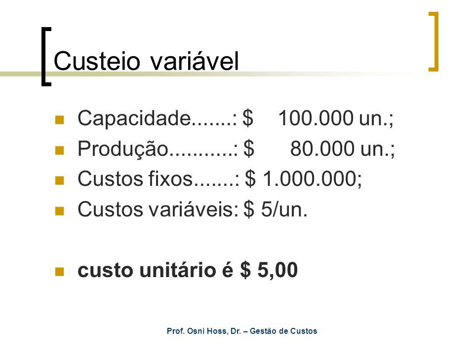 Prof. Osni Hoss, Dr. – Gestão de Custos Custeio variável Capacidade.......: $ 100.000 un.; Produção...........: $ 80.000 un.; Custos fixos.......: $ 1
