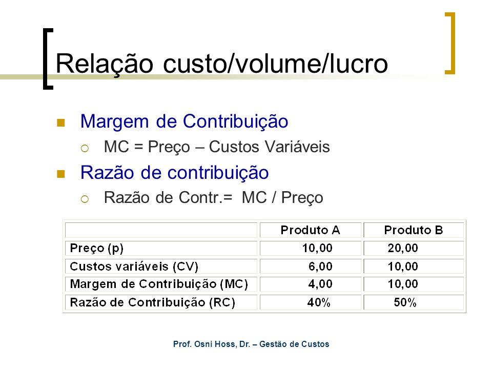 Prof. Osni Hoss, Dr. – Gestão de Custos Relação custo/volume/lucro Margem de Contribuição MC = Preço – Custos Variáveis Razão de contribuição Razão de