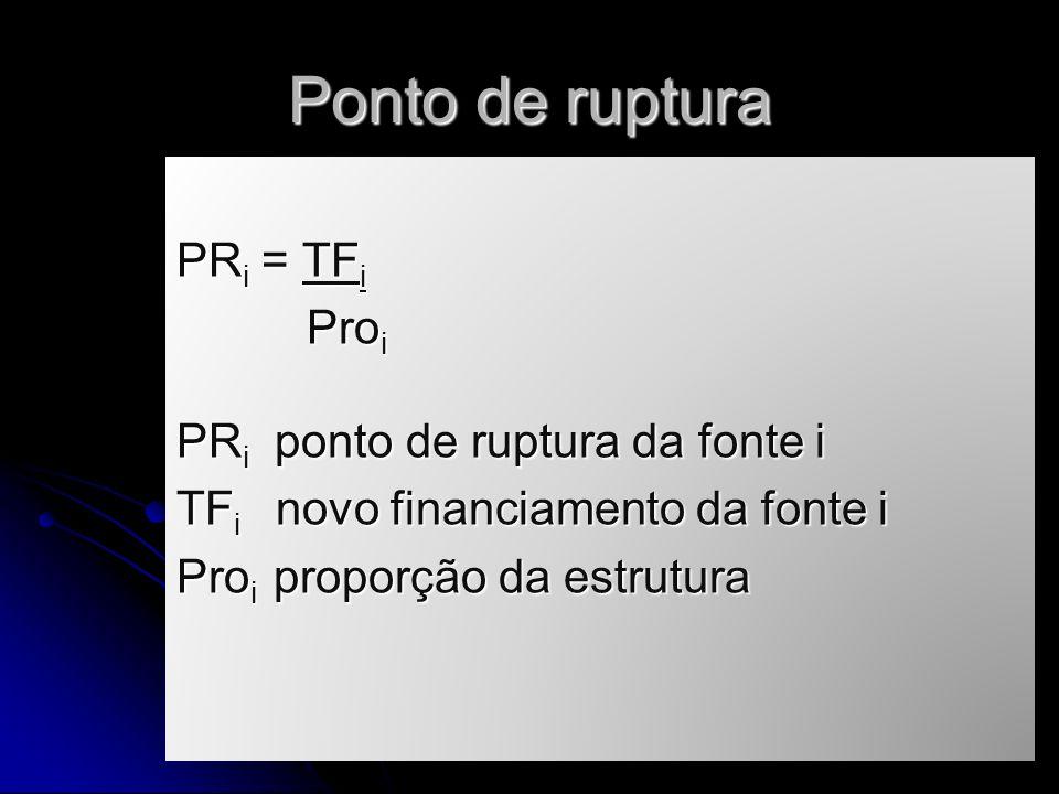 Ponto de ruptura PR i = TF i Pro i Pro i PR i ponto de ruptura da fonte i TF i novo financiamento da fonte i Pro i proporção da estrutura