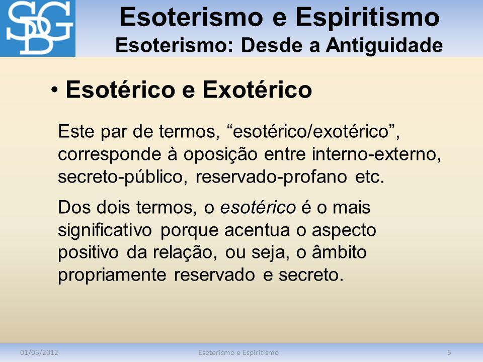 Esoterismo e Espiritismo Esoterismo: Desde a Antiguidade 01/03/2012Esoterismo e Espiritismo5 Este par de termos, esotérico/exotérico, corresponde à op