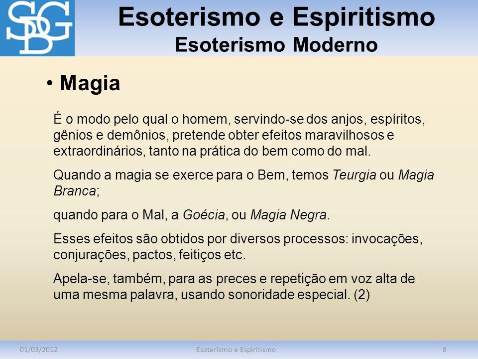Esoterismo e Espiritismo Esoterismo Moderno 01/03/2012Esoterismo e Espiritismo8 É o modo pelo qual o homem, servindo-se dos anjos, espíritos, gênios e