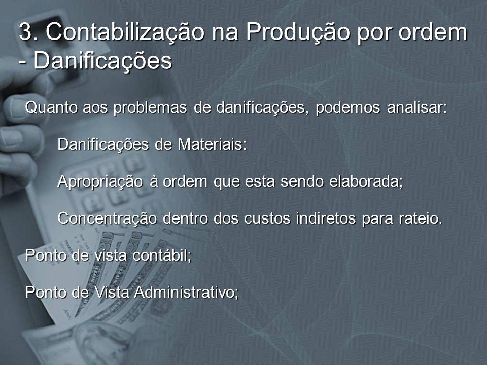 3. Contabilização na Produção por ordem - Danificações Quanto aos problemas de danificações, podemos analisar: Danificações de Materiais: Apropriação