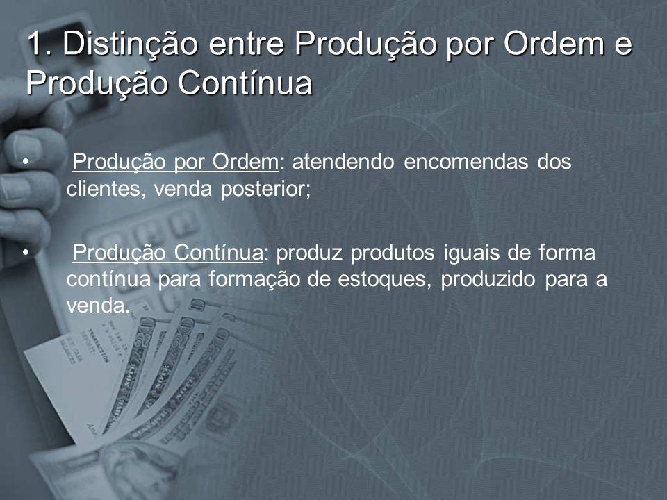 1. Distinção entre Produção por Ordem e Produção Contínua Produção por Ordem: atendendo encomendas dos clientes, venda posterior; Produção Contínua: p