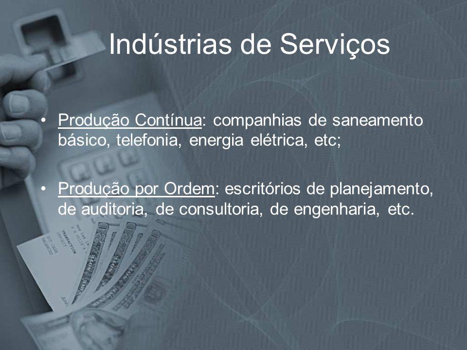 Indústrias de Serviços Produção Contínua: companhias de saneamento básico, telefonia, energia elétrica, etc; Produção por Ordem: escritórios de planej