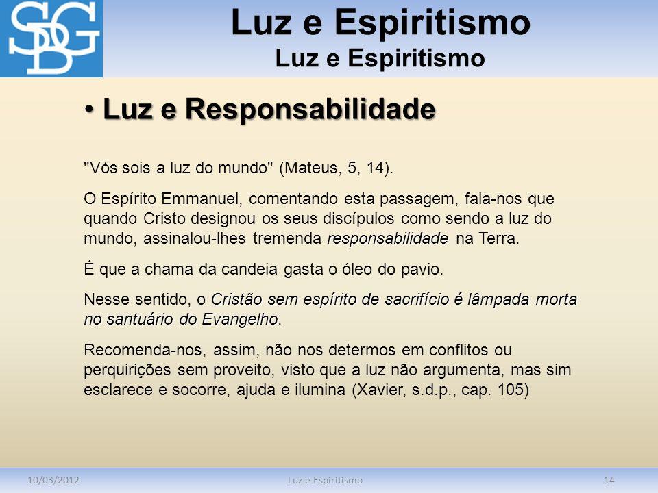 Luz e Espiritismo 10/03/2012Luz e Espiritismo14