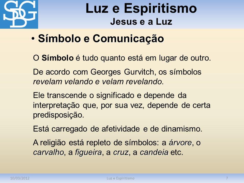 Luz e Espiritismo Jesus e a Luz 10/03/2012Luz e Espiritismo7 O Símbolo é tudo quanto está em lugar de outro. De acordo com Georges Gurvitch, os símbol