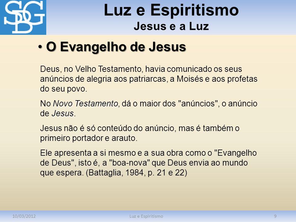 Luz e Espiritismo Jesus e a Luz 10/03/2012Luz e Espiritismo9 Deus, no Velho Testamento, havia comunicado os seus anúncios de alegria aos patriarcas, a