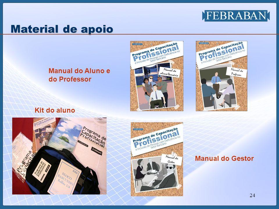 24 Kit do aluno Manual do Aluno e do Professor Material de apoio Manual do Gestor