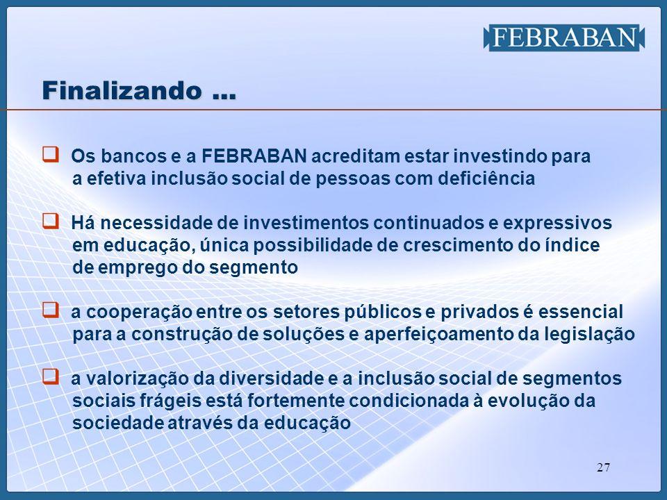 27 Os bancos e a FEBRABAN acreditam estar investindo para a efetiva inclusão social de pessoas com deficiência Há necessidade de investimentos continu