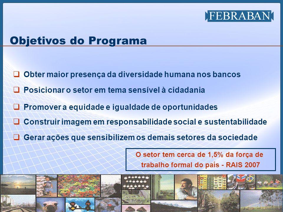 3 Objetivos do Programa Obter maior presença da diversidade humana nos bancos Posicionar o setor em tema sensível à cidadania Promover a equidade e ig