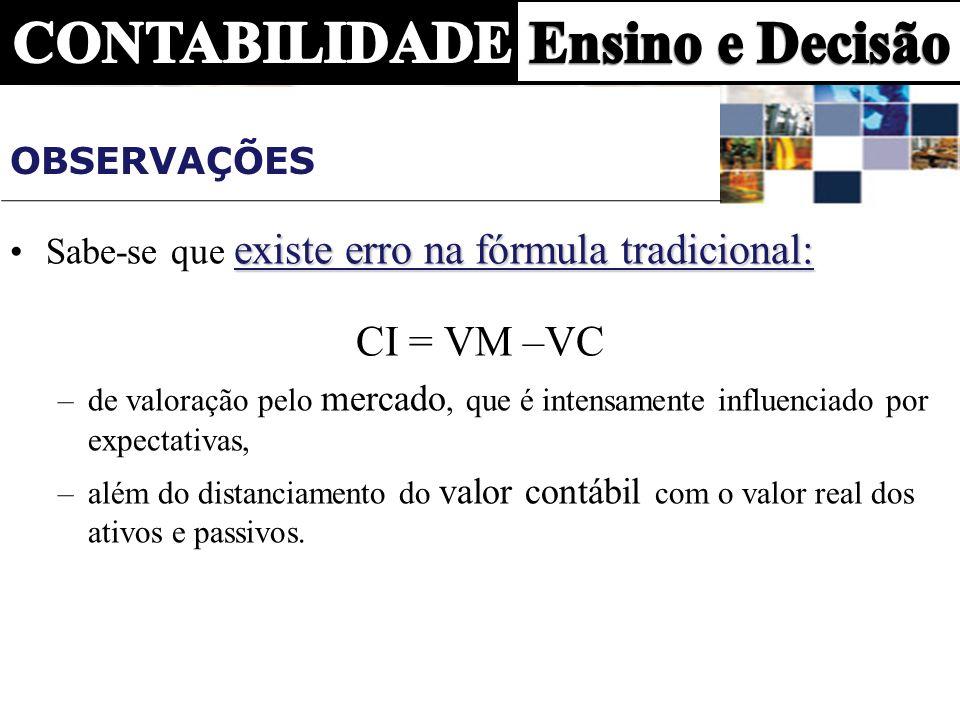 OBSERVAÇÕES existe erro na fórmula tradicional:Sabe-se que existe erro na fórmula tradicional: CI = VM –VC –de valoração pelo mercado, que é intensame