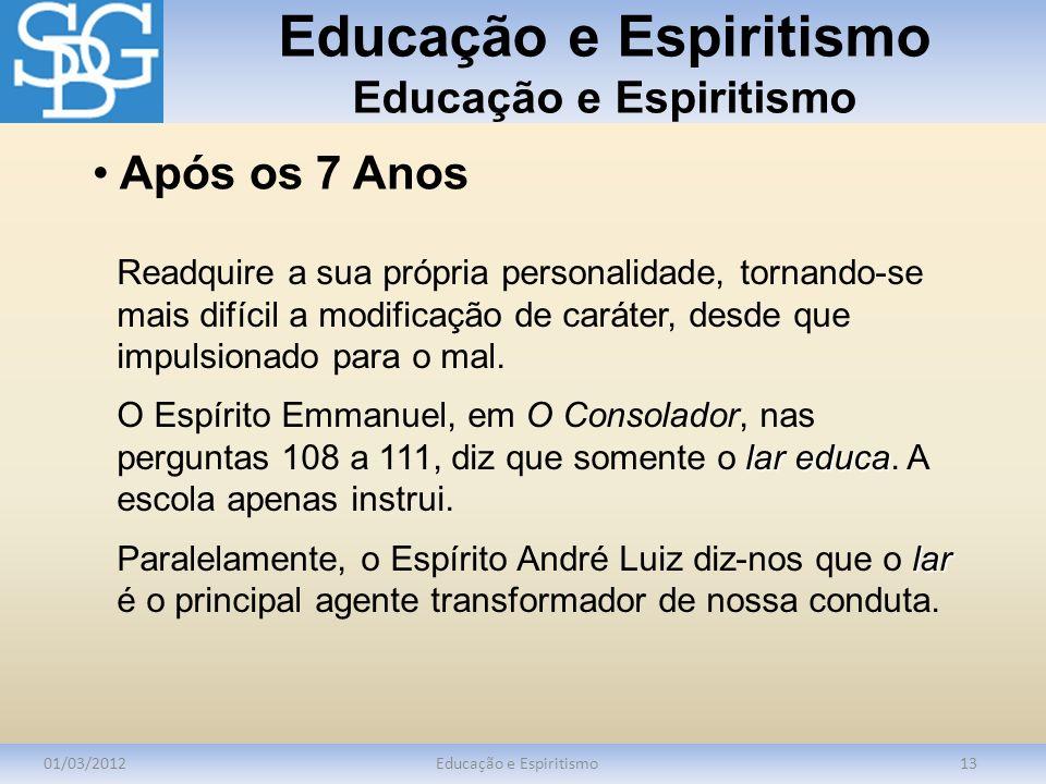 Educação e Espiritismo 01/03/2012Educação e Espiritismo13 Readquire a sua própria personalidade, tornando-se mais difícil a modificação de caráter, de