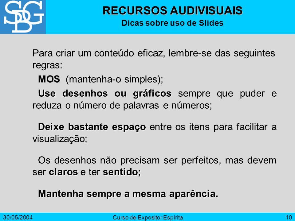 30/05/2004Curso de Expositor Espírita10 Para criar um conteúdo eficaz, lembre-se das seguintes regras: MOS (mantenha-o simples); Use desenhos ou gráfi