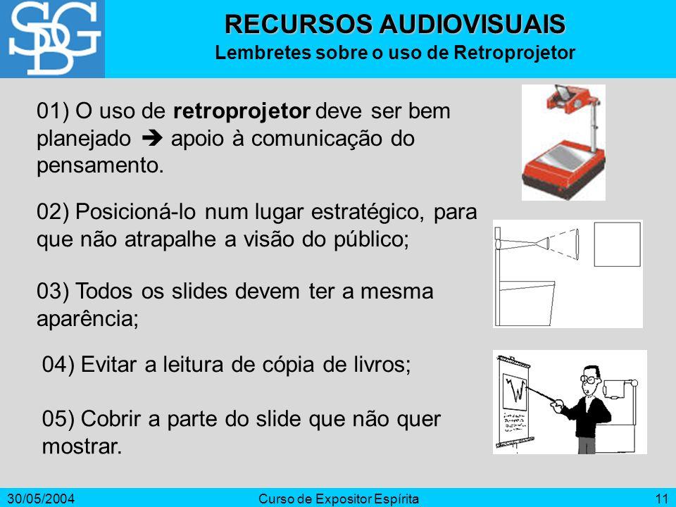 30/05/2004Curso de Expositor Espírita11 RECURSOS AUDIOVISUAIS Lembretes sobre o uso de Retroprojetor 01) O uso de retroprojetor deve ser bem planejado
