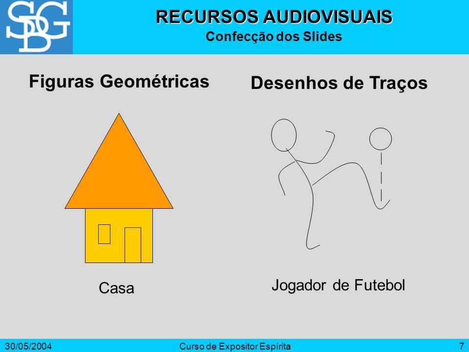 30/05/2004Curso de Expositor Espírita7 RECURSOS AUDIOVISUAIS Confecção dos Slides Figuras Geométricas Casa Jogador de Futebol Desenhos de Traços