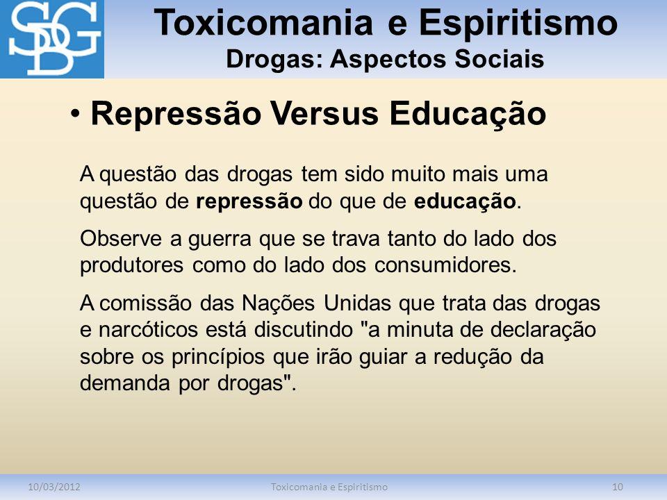 Toxicomania e Espiritismo Drogas: Aspectos Sociais 10/03/2012Toxicomania e Espiritismo10 A questão das drogas tem sido muito mais uma questão de repre