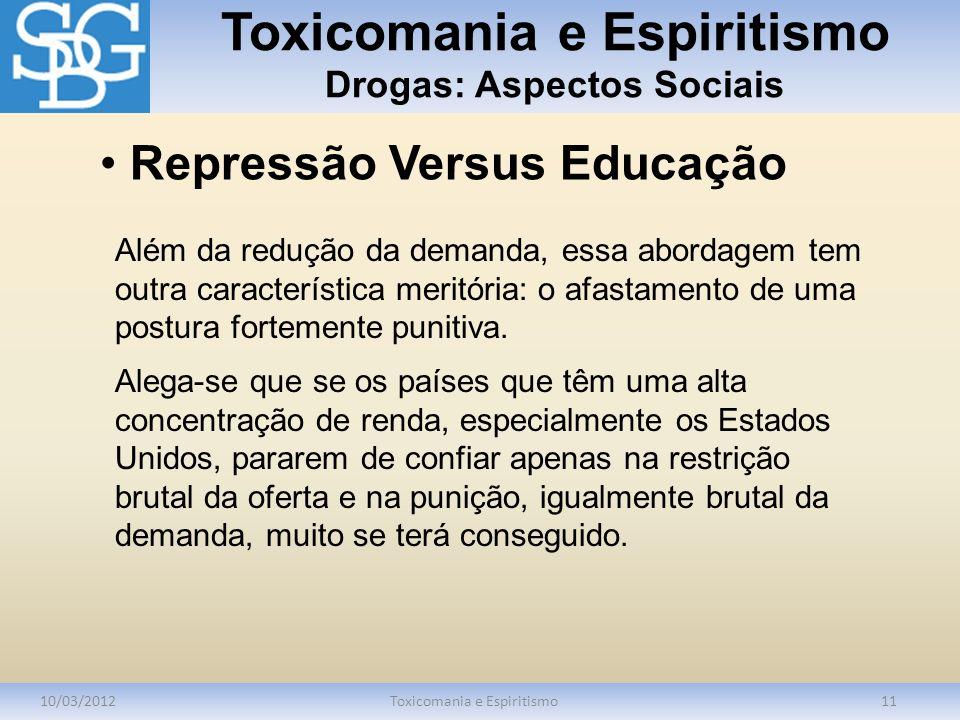 Toxicomania e Espiritismo Drogas: Aspectos Sociais 10/03/2012Toxicomania e Espiritismo11 Além da redução da demanda, essa abordagem tem outra caracter