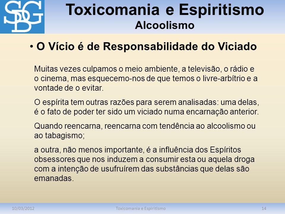 Toxicomania e Espiritismo Alcoolismo 10/03/2012Toxicomania e Espiritismo14 Muitas vezes culpamos o meio ambiente, a televisão, o rádio e o cinema, mas