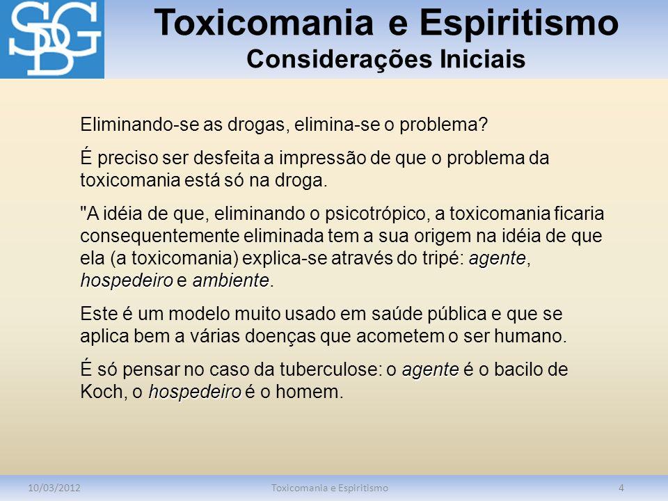Toxicomania e Espiritismo Considerações Iniciais 10/03/2012Toxicomania e Espiritismo4 Eliminando-se as drogas, elimina-se o problema? É preciso ser de