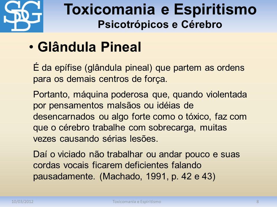 Toxicomania e Espiritismo Psicotrópicos e Cérebro 10/03/2012Toxicomania e Espiritismo8 É da epífise (glândula pineal) que partem as ordens para os dem