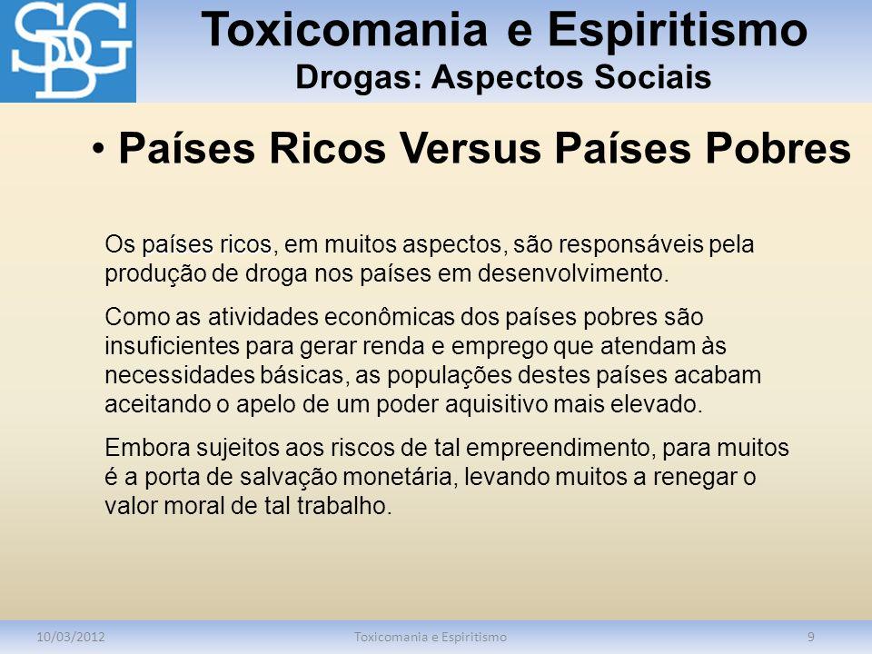 Toxicomania e Espiritismo Drogas: Aspectos Sociais 10/03/2012Toxicomania e Espiritismo9 países ricos Os países ricos, em muitos aspectos, são responsá