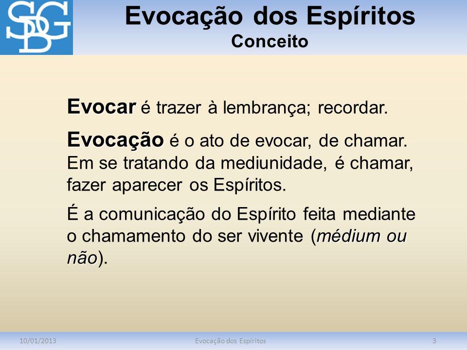 Evocação dos Espíritos Utilidade das Evocações 10/01/2013Evocação dos Espíritos14 finalidade útil e séria.