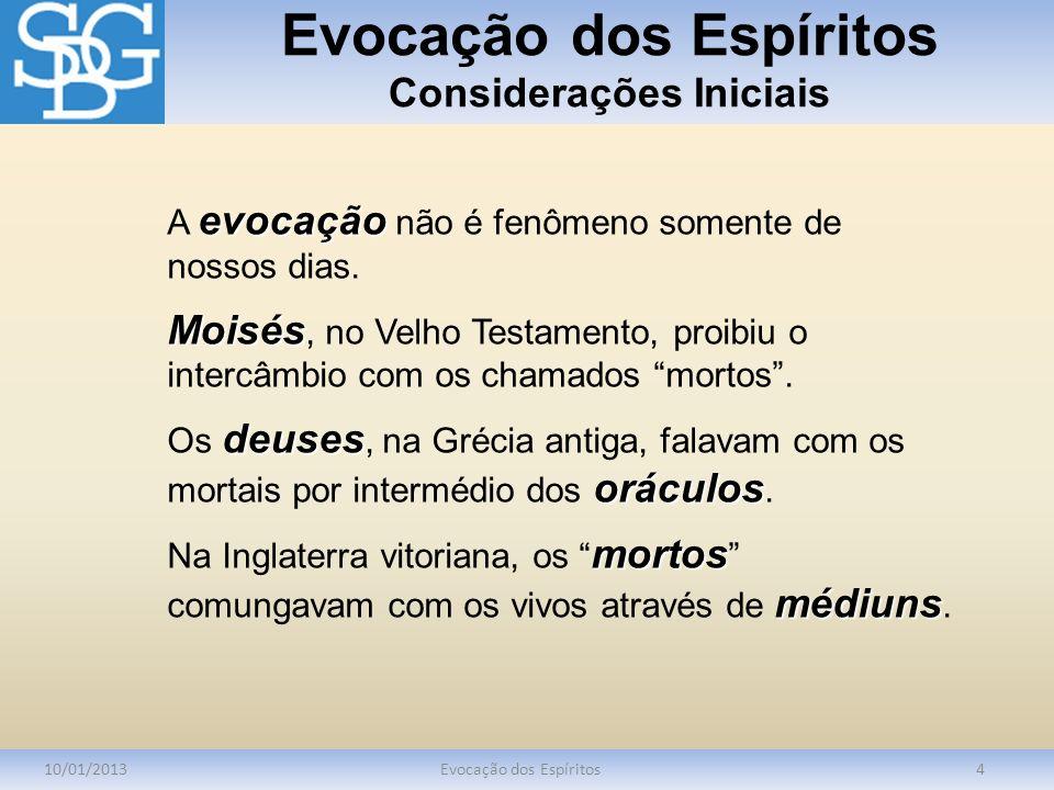 Evocação dos Espíritos Considerações Iniciais 10/01/2013Evocação dos Espíritos5 Hospedeirocanalcanalizador médium Hospedeiro, canal, canalizador e médium são os termos usados para caracterizar as evocações.