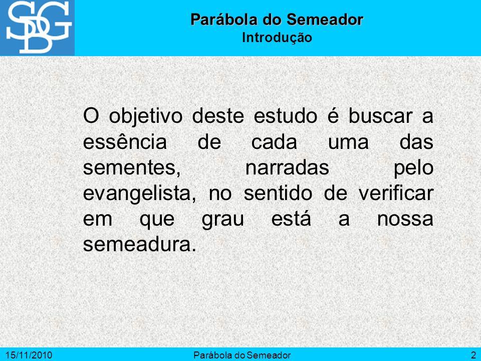 15/11/2010Parábola do Semeador2 Introdução O objetivo deste estudo é buscar a essência de cada uma das sementes, narradas pelo evangelista, no sentido