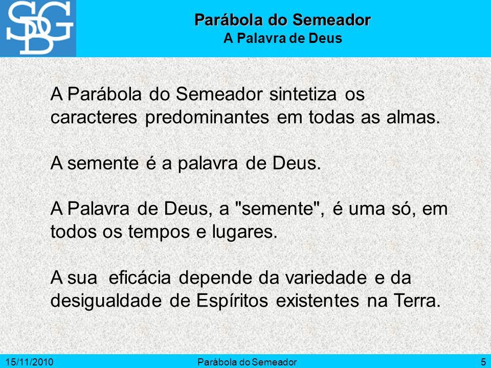 15/11/2010Parábola do Semeador5 A Parábola do Semeador sintetiza os caracteres predominantes em todas as almas. A semente é a palavra de Deus. A Palav