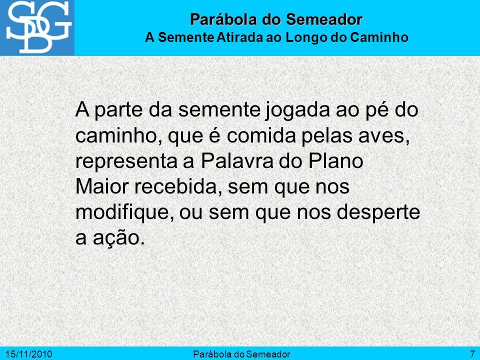 15/11/2010Parábola do Semeador7 A parte da semente jogada ao pé do caminho, que é comida pelas aves, representa a Palavra do Plano Maior recebida, sem