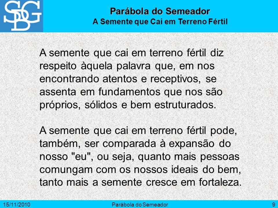 15/11/2010Parábola do Semeador9 A semente que cai em terreno fértil diz respeito àquela palavra que, em nos encontrando atentos e receptivos, se assen