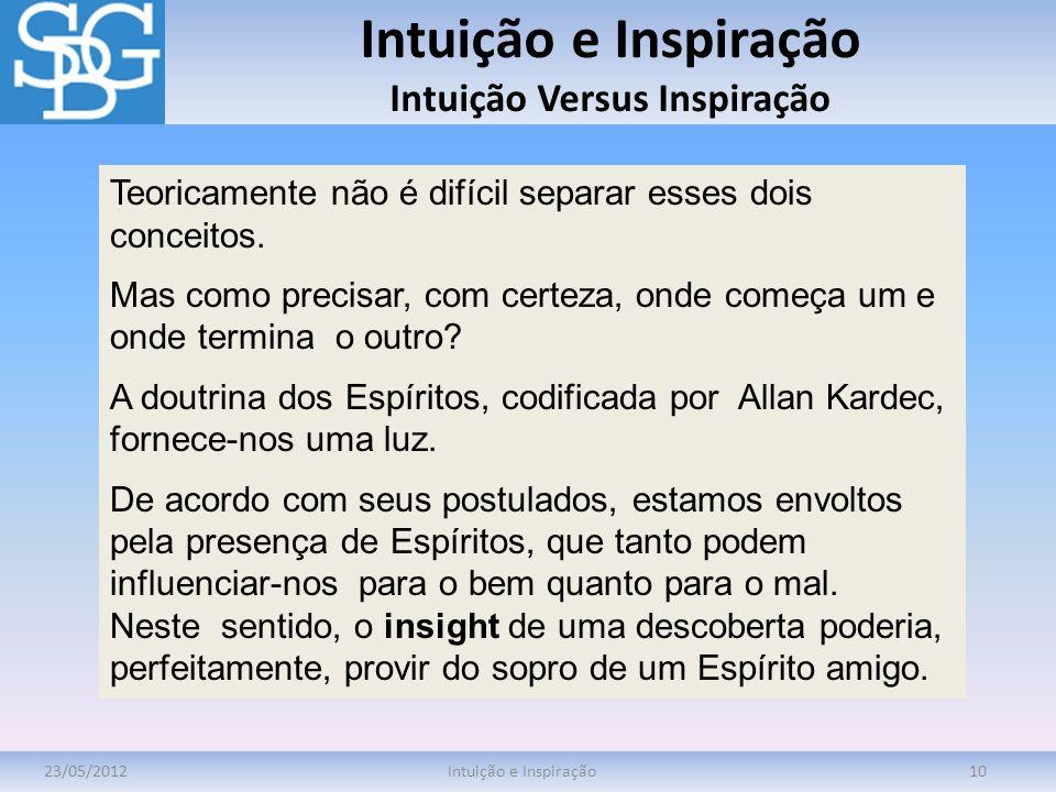 Intuição e Inspiração Intuição Versus Inspiração 23/05/2012Intuição e Inspiração10 Teoricamente não é difícil separar esses dois conceitos. Mas como p