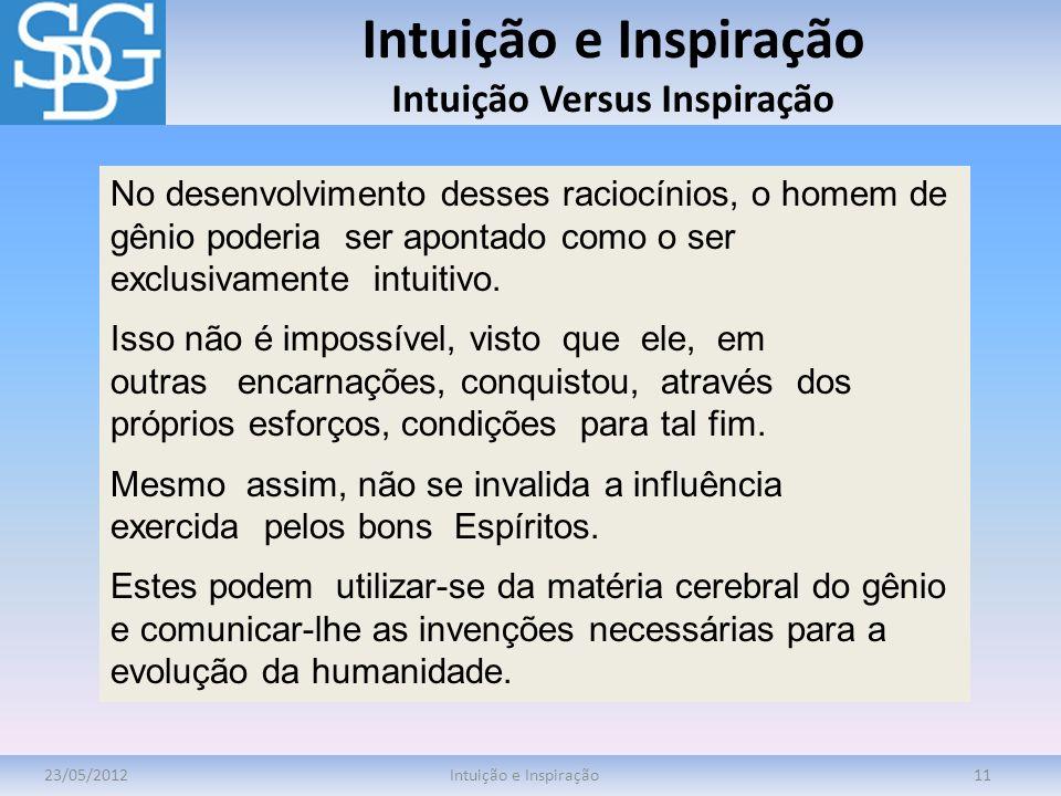 Intuição e Inspiração Intuição Versus Inspiração 23/05/2012Intuição e Inspiração11 No desenvolvimento desses raciocínios, o homem de gênio poderia ser